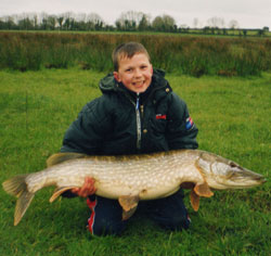 The River Suck as Castlestrange produced this 26lb 14 oz pike for 11-year-old James Farrell in late March 2002.